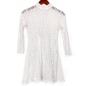 Free People White Lace Sheer Long Sleeve Dress